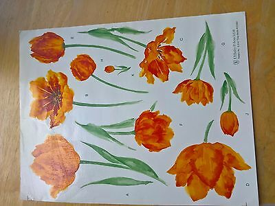 Ceramic Waterslide Decals Selection of sizes - Orange Tulips