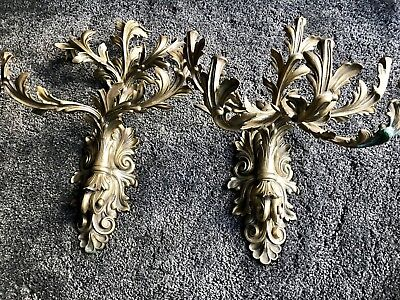A Pair of Antique, Gilt-Brass Six-Light Wall Sconces