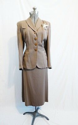 1940s Tan Wool Gabardine Womans 2 Piece Skirt Suit