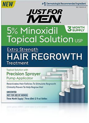 Just For Men Hair Regrowth Treatment, 3 Month Supply, 6 Fluid Ounce