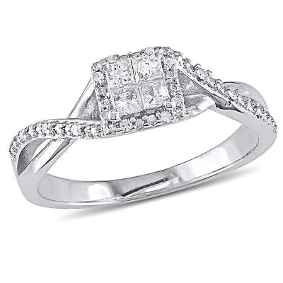Amour Silver 1/4ct TDW Diamond Crossover Halo Engagement Ring