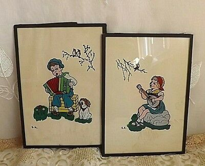 Vintage Retro Kitsch Pair Of Reverse Painted Glass Pictures Boy & Girl Singing