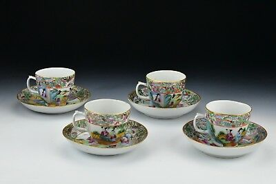 Four Antique Chinese Export Porcelain Famille Rose Mandarin Cup & Saucers