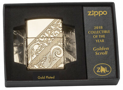 Zippo 2018 Collectible of The Year, Lighter Golden Scroll,Gold plated 29653