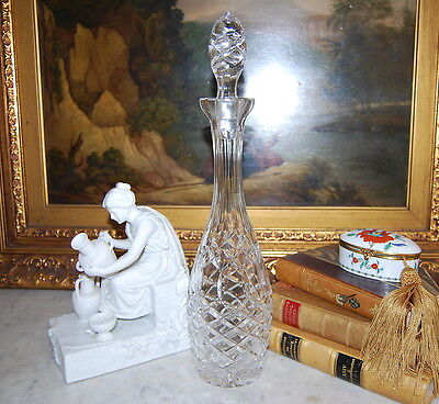 Wonderful European Clear Glass Crystal Decanter Hand Cut With Fancy Decorations