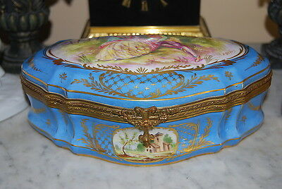 Old French Large Rococo Bronze Mounted Sevres Blue Signed A. Dupuis Cabinet Box