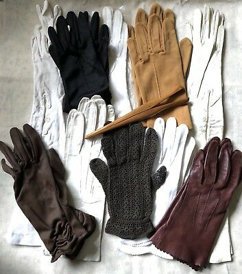 Job Lot 10 Pairs Of Vintage Gloves And 1 Glove Stretcher