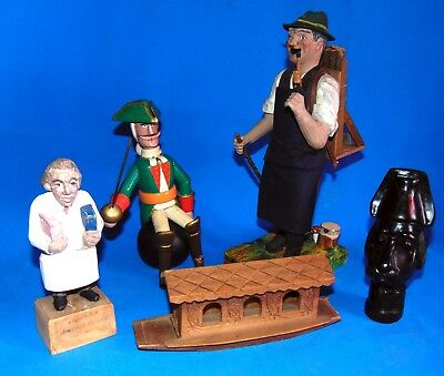 SALE lot  of  antique  primitif  folk art  German French wooden carved  FIGURES