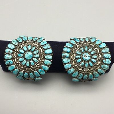 Pair of Vintage Turquoise & Sterling Cluster Bracelets * Matching Set!