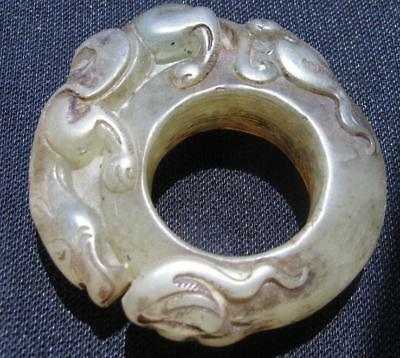 vintage natural AA  jade hand carved dragon  ring sz14 aged