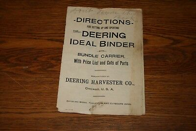 1899 Deering Harvester Company Deering Ideal Binder Owners Manual Original