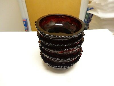 LOT OF 5 Vintage Avon 1876 Cape Cod Collection Ruby Red BERRY FRUIT BOWLS