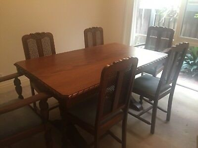 Antique Tudor Dining Table And Chairs