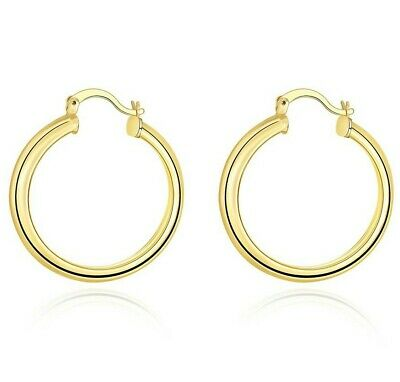 14K Yellow Gold 1.5mm Thickness High Polished Classic Hinged Hoop Earrings