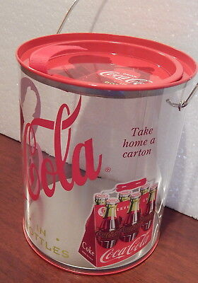 Coca Cola 2 Canisters Paint can size +18pc plastic Utensil set Can Metal/plastic