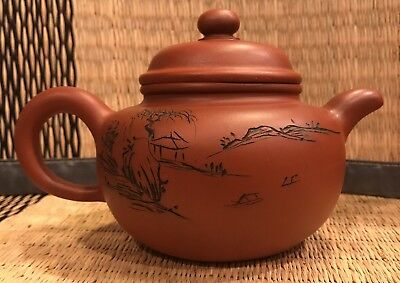Yixing Teapot Chinese Tea Pot w/ Incised Landscape & Calligraphy Marked marks
