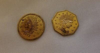 1872/1898 -1 California Indian Fractional Gold coins set of two