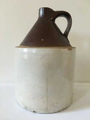 Vintage Stoneware Crock Jug Moonshine Whiskey Cork Seal Antique Stone Jug