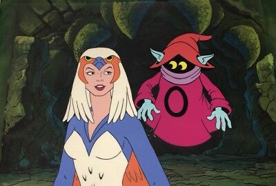 Masters of the Universe Animation Production Cel Sorceress And Orko Motu Art