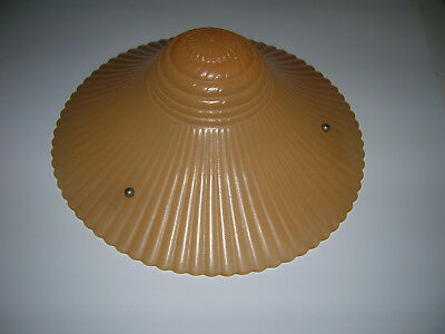Vtg Pink Art Deco Ribbed Glass Ceiling Hanging Lamp Shade with Chains lighting