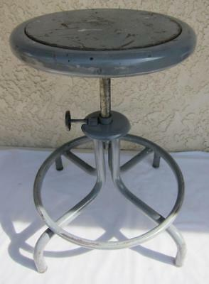 Vintage Industrial Metal Adjustable Work Shop Lab Stool Chair