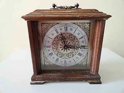 Vintage Wooden Mantel Clock Hechinger Quartz Time made in W. Germany