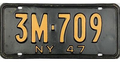 1947 New York License Plate #3M-709 No Reserve