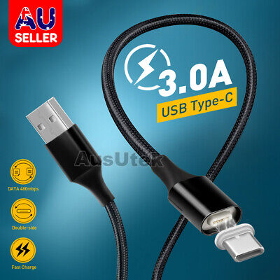 Magnetic USB Type-C Braided Data FAST Charger Cable Samsung S10 S9 S8 Plus