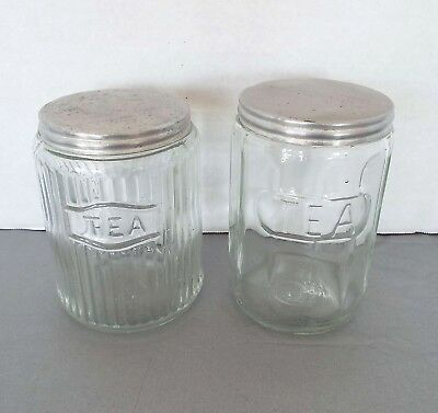 2 Piece Lot Vintage Hoosier Cabinet Ribbed Glass Tea Jars Depression Canisters
