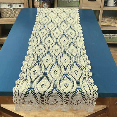 Ecru Vintage Hand Crochet Lace Doily Table Runner Cloth 15x59inch Wedding Decor