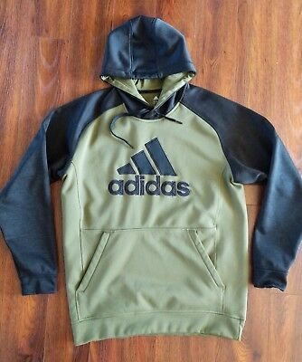 1f090b051170 Men s ADIDAS Climawarm Olive Green   Black Hoodie Pull Over Sweatshirt ...