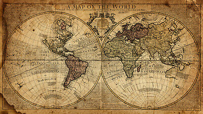 Vintage World Map Canvas Giclee Print Picture Unframed Home Decor Wall Art