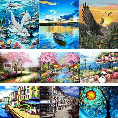 AU Canvas DIY Digital Oil Painting Kit Paint by Numbers No Frame Home Decor Gift