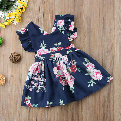 Lovely Kids Baby Girls Floral Backless Party Pageant Tutu Dress Sundress Clothes