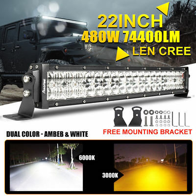 8D+ 22Inch CREE Len LED Work Light Bar Spot Flood SUV Ford Driving Lamp Offroad