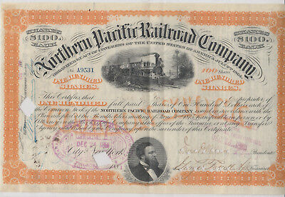 Northern Pacific Railroad Co. 1881. 100 Shares. Issued, Cancelled, Transferred.