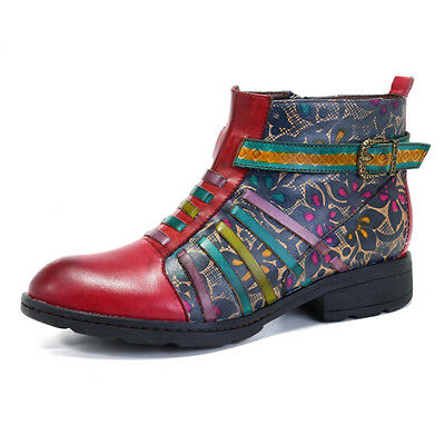 SOCOFY Women Printing Retro Splicing Stripe Pattern Flat Leather Boots Handmade