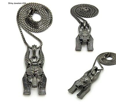 Ancient Egyptian Black Anubis God Pendant Cuban , Box  Chain Necklace