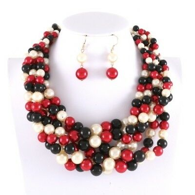 Red White Black Synthetic Pearl Choker Gold Tone Chain Necklace Set