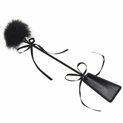 New Feather Fluffy Tickler Paddle Whip Crop Adult Fun Black Sex Toy Bondage