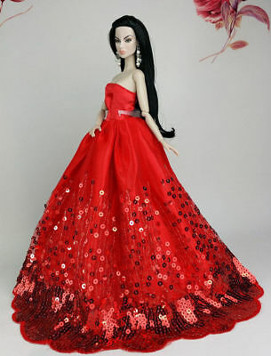 Gorgeous Princess Party Red Sequin Dress/Clothes Wedding Gown For 11.5in.Doll Y8