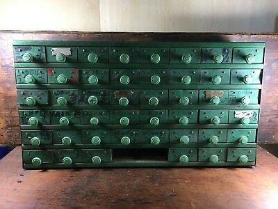 INCREDIBLE 1940's 48-DRAWER PARTS CABINET INDUSTRIAL BAKELITE KNOBS RUSTIC CHEST