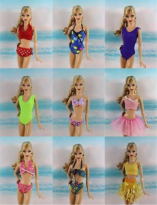 10 Items=5 PCS Lovely Fashion Bikini Swimsuit + 5 Pairs Shoes for Barbie Doll Y5