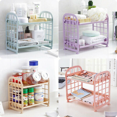 2 Tier Plastic Bathroom Shower caddy Corner Rack Kitchen Shelf Organiser Storage