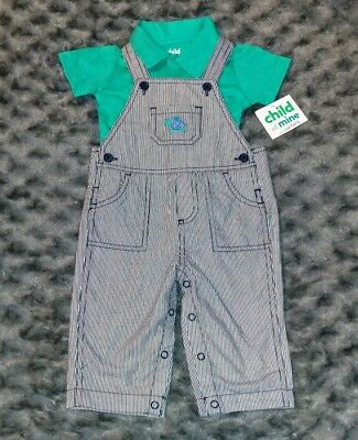 NWT Carters Baby Boy Clothes 6-9 Months 2 Piece Turtle Shirt Overalls Outfit Set