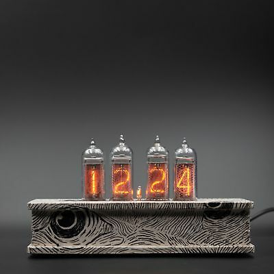Hand Painted Nixie Tube Clock IN 14 Retro Desk Vintage Wooden Case