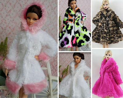 New 5 PCS Lovely Fashion Winter fur Coats Clothes/Outfit For Barbie Doll Y035