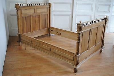 Antique French Henry II Style Walnut Double Bedstead  Lions Head Provincial Bed