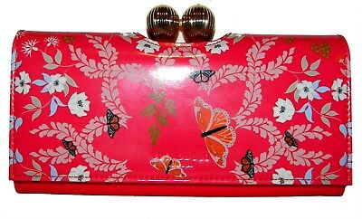 f2e41cab4 TED BAKER BRIGHT Red Patent Leather Bifold Clutch Wallet NWT ...