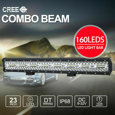 23 inch CREE 3Rows LED Light Bar Spot Flood Combo 12/24V Offroad Work Driving